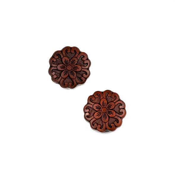 Carved Wood Focal Bead - 15mm Sandalwood Flower #4, 1 per bag