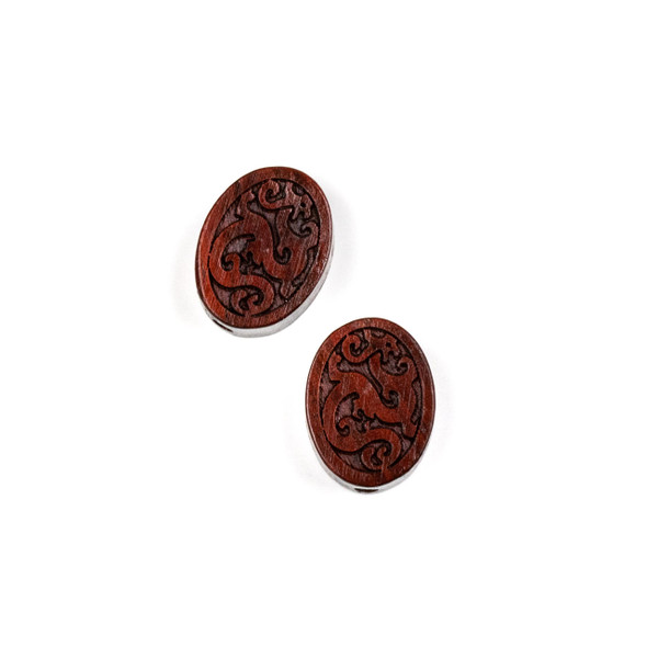 Carved Wood Focal Bead - 13x17mm Sandalwood Oval with Vines, 1 per bag