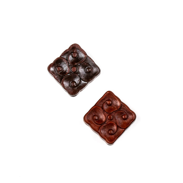 Carved Wood Focal Bead - 14mm Sandalwood Diagonally Drilled Square with Dots, 1 per bag