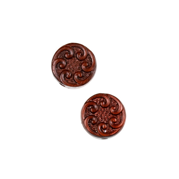 Carved Wood Focal Bead - 16mm Sandalwood Coin with Waves, 1 per bag