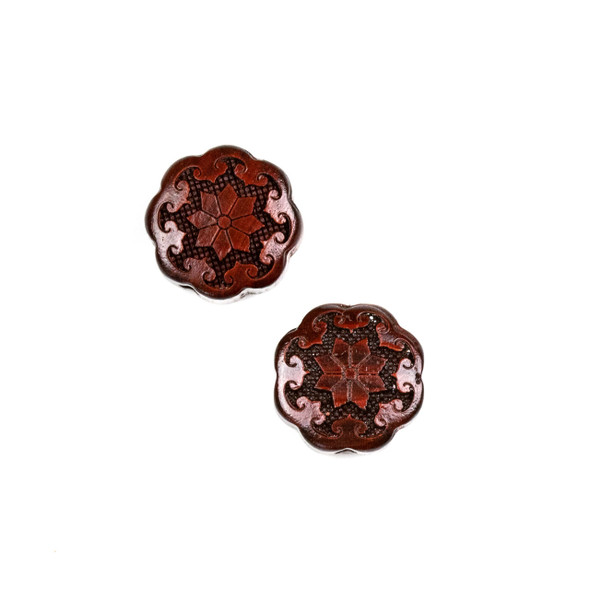 Carved Wood Focal Bead - 17mm Sandalwood Flower #5, 1 per bag
