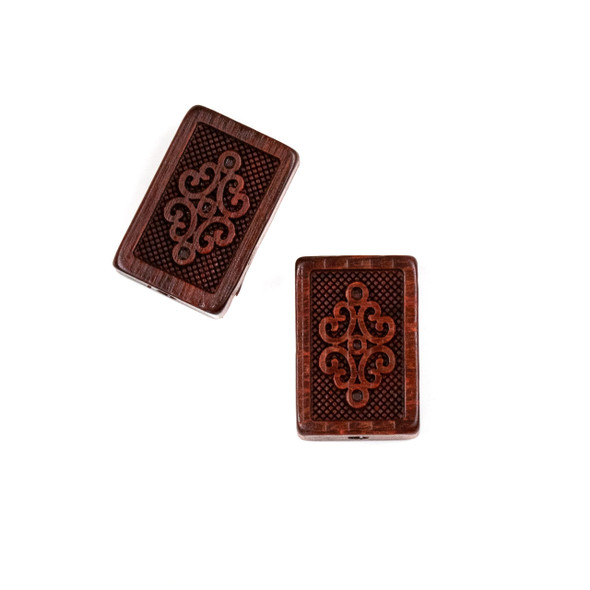 Carved Wood Focal Bead - 13x20mm Sandalwood Rectangle with Knot, 1 per bag