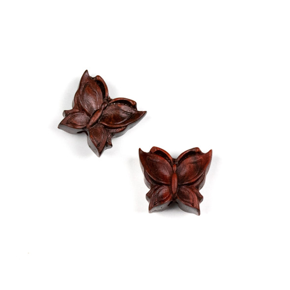 Carved Wood Focal Bead - 15x16mm Sandalwood Butterfly, 1 per bag