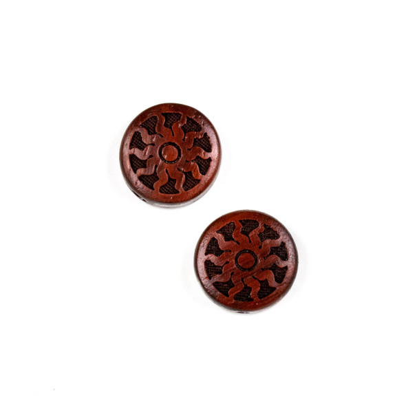 Carved Wood Focal Bead - 16mm Sandalwood Coin with Blazing Sun, 1 per bag