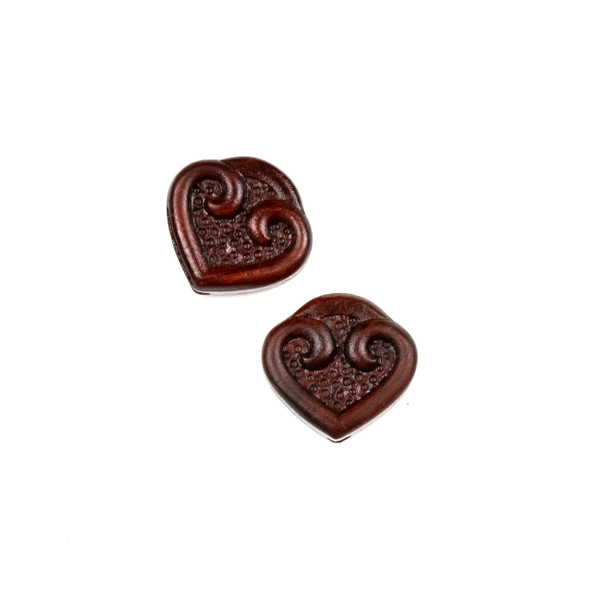 Carved Wood Focal Bead - 15x16mm Sandalwood Heart, 1 per bag