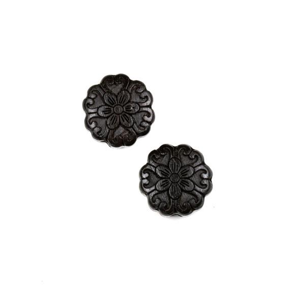 Carved Wood Focal Bead - 16mm Black Sandalwood Flower #4, 1 per bag
