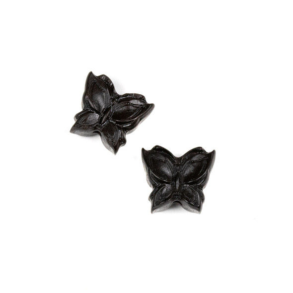 Carved Wood Focal Bead - 15x16mm Black Sandalwood Butterfly, 1 per bag