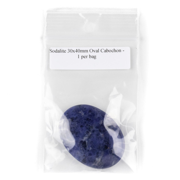 Sodalite 30x40mm Oval Cabochon - 1 per bag