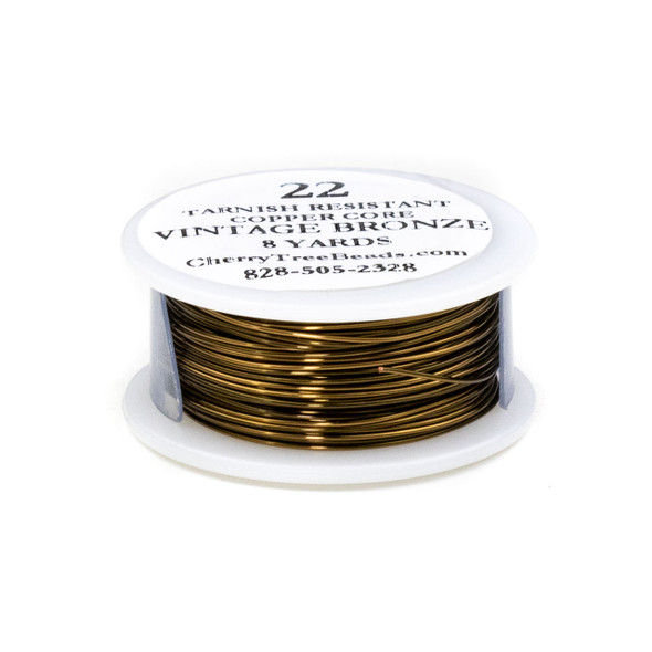 22 Gauge Coated Non-Tarnish Vintage Bronze Plated Copper Wire on an 8-Yard Spool