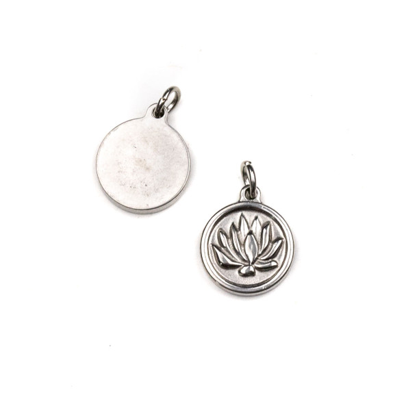 Stainless Steel 12mm Coin Charm with Lotus and 4mm Open Jump Ring - 1 per bag