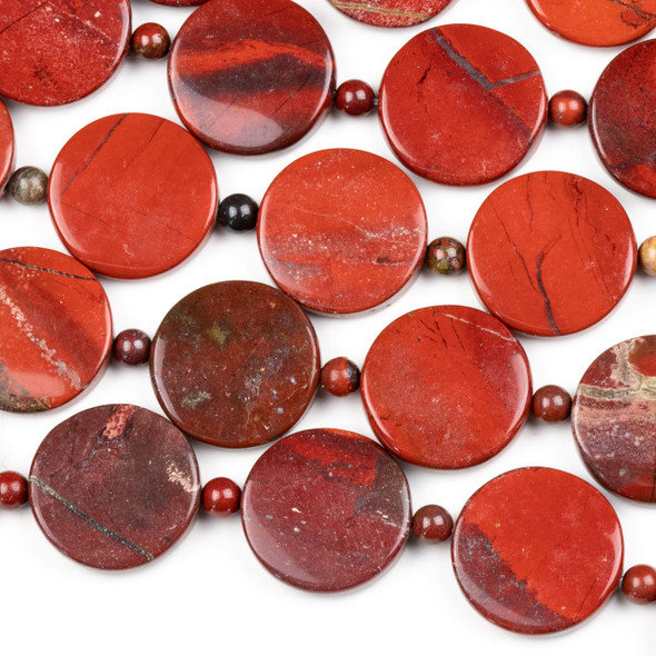 Apple Jasper 18mm Convex Coin Beads alternating with 4mm Round Beads - 16 inch strand