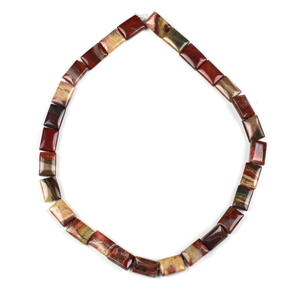 Apple Jasper 10x14mm Rectangle Beads - 15 inch strand
