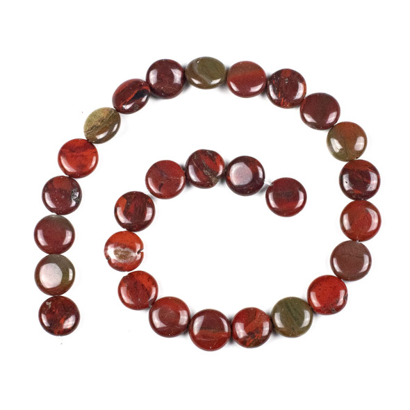 Apple Jasper 14mm Coin Beads - 15 inch strand