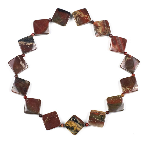 Apple Jasper 18mm Diagonally Drilled Square Beads alternating with 4mm Round Beads - 15 inch strand