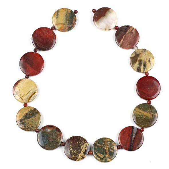 Apple Jasper 25mm Coin Beads alternating with 4mm Round Beads - 15 inch strand