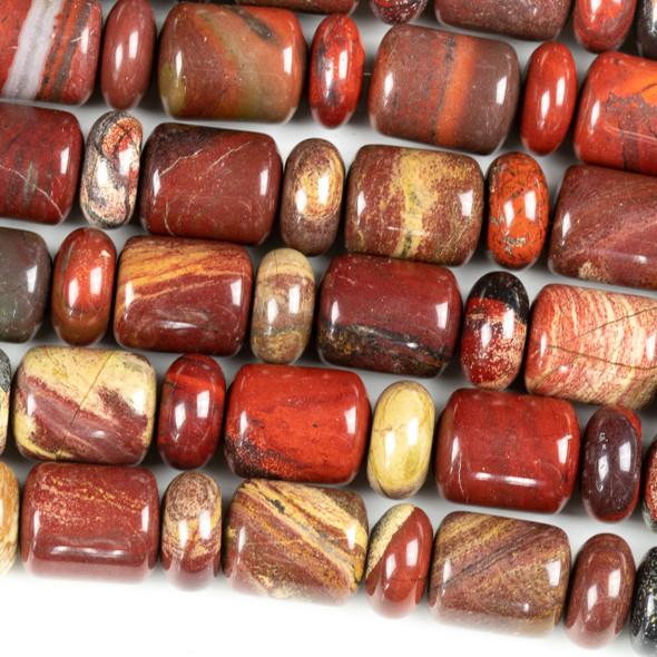 Apple Jasper 14x18 Barrel Beads alternating with 6x14mm Rondelle Beads - 15 inch strand