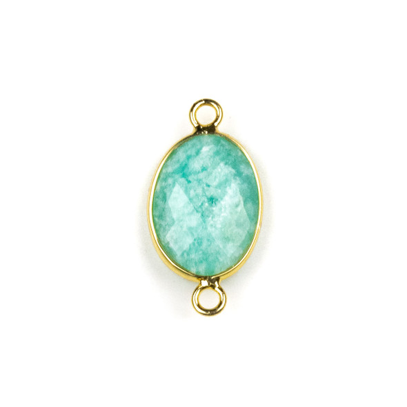 Amazonite approximately 12x21mm Oval Link with a Brass Plated Base Metal Bezel - 1 per bag