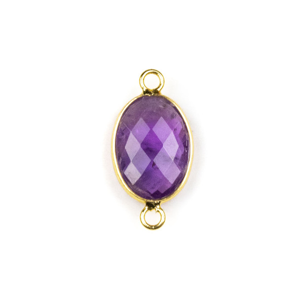 Amethyst approximately 12x21mm Oval Link with a Brass Plated Base Metal Bezel - 1 per bag