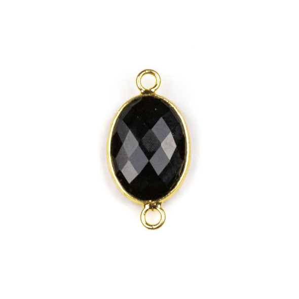 Onyx approximately 12x21mm Oval Link with a Brass Plated Base Metal Bezel - 1 per bag