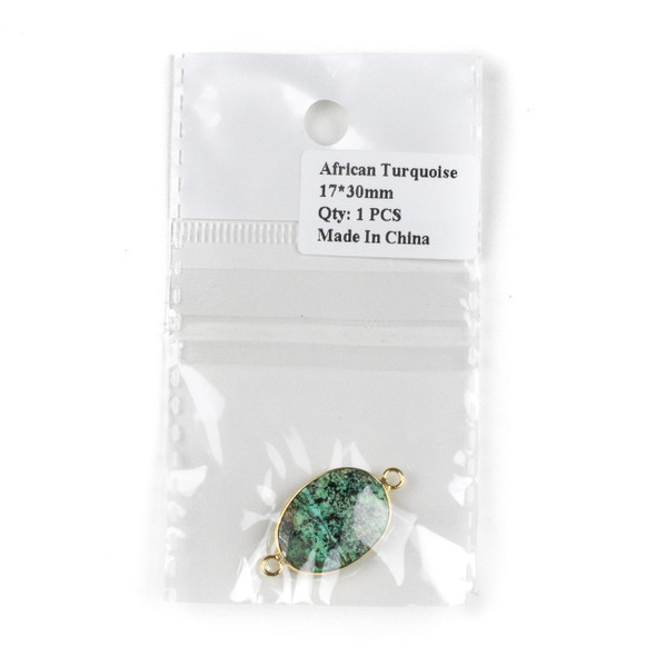 African Turquoise approximately 17x30mm Irregular Oval/Free Form Link with a Brass Plated Base Metal Bezel - 1 per bag