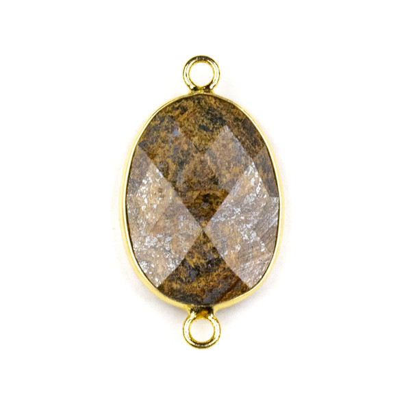 Bronzite approximately 17x30mm Irregular Oval/Free Form Link with a Brass Plated Base Metal Bezel - 1 per bag
