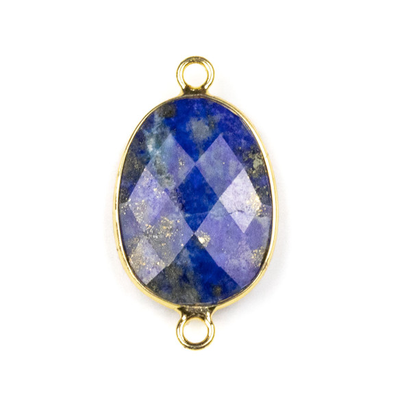 Lapis approximately 17x30mm Irregular Oval/Free Form Link with a Brass Plated Base Metal Bezel - 1 per bag