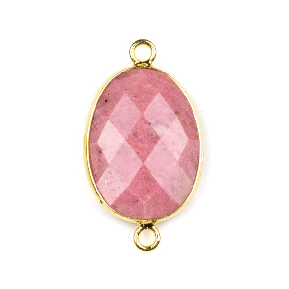 Rhodochrosite approximately 17x30mm Irregular Oval/Free Form Link with a Brass Plated Base Metal Bezel - 1 per bag