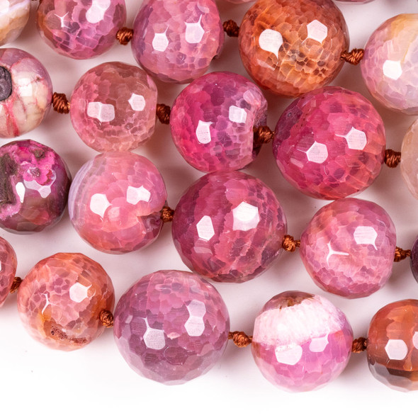Dyed Agate 8-20mm Graduated Faceted Pink & Orange Round Beads - 17.5 inch knotted strand