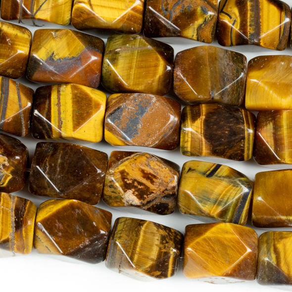 Yellow Tigereye 11x14mm Faceted Nugget Beads - 16 inch strand