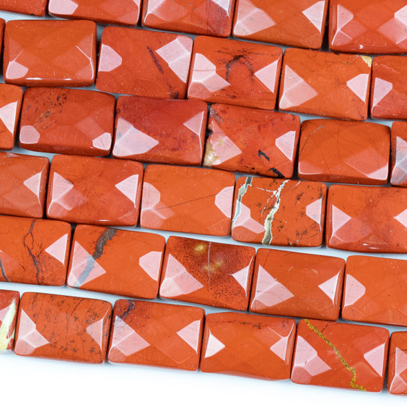 Red Jasper 10x14mm Faceted Rectangle Beads - 16 inch strand