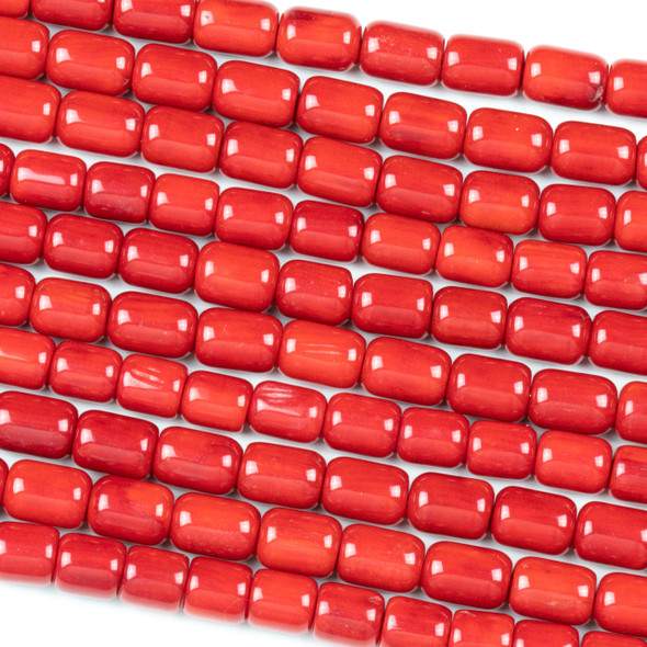 Red Bamboo Coral 7x10mm Tube Beads - 16 inch strand