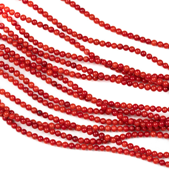 Red Bamboo Coral 3mm Round Beads - 16 inch strand