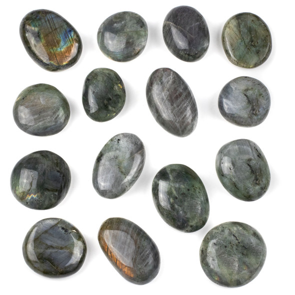Natural Labradorite Small Pebble Palm Stone - 1 per bag