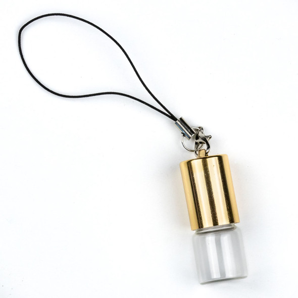 2ml Roller Ball & Glass Bottle Pendant with Loop on Gold Top - 1 per bag