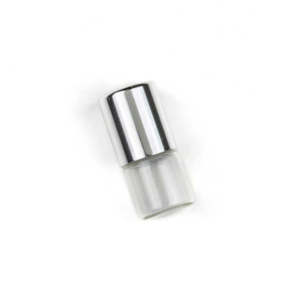 1ml Roller Ball & Glass Bottle with Silver Top - 1 per bag
