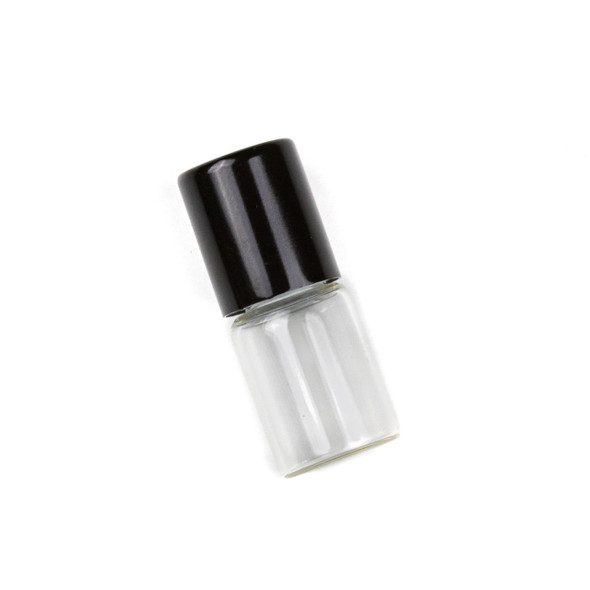 2ml Roller Ball & Glass Bottle with Black Top - 1 per bag