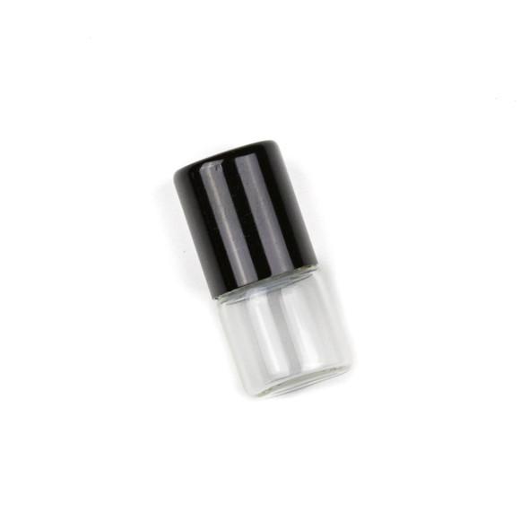 1ml Roller Ball & Glass Bottle Pendant with Black Top - 1 per bag