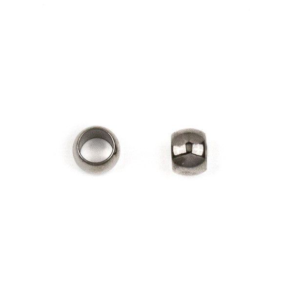 Gun Metal Colored Brass 5mm Leather Crimp Beads with a 3mm Large Hole - 100 per bag - brasslgcr5gm-100