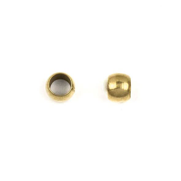 Brass 5mm Leather Crimp Beads with a 3mm Large Hole - 100 per bag - brasslgcr5b-100