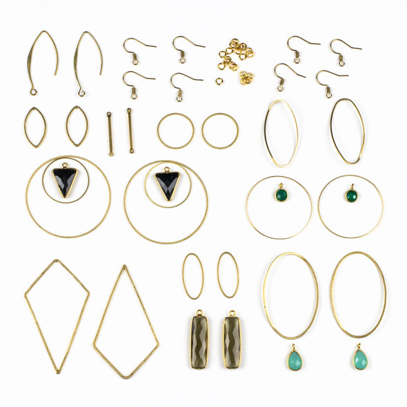 Raw Brass and Gemstone Drop Earring Kit - #011