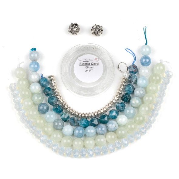 Apatite, Moonstone, and Aquamarine Elastic Stacking Bracelet Kit - bkit-018