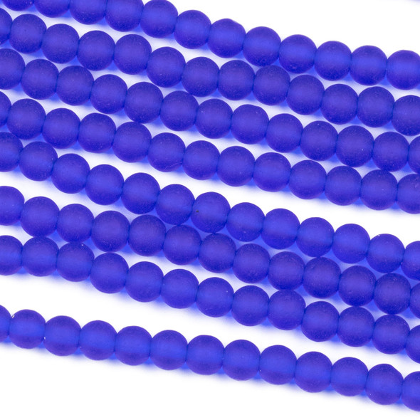 Matte Glass, Sea Glass Style 4mm Cobalt Blue Round Beads - 8 inch strand