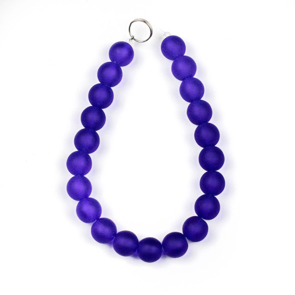 Matte Glass, Sea Glass Style 10mm Cobalt Blue Round Beads - 8 inch strand