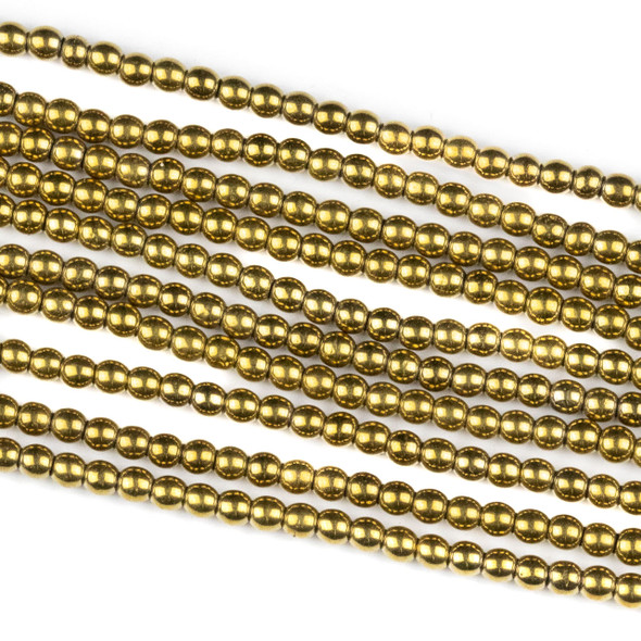 Hematite 2mm Electroplated Gold Round Beads - approx. 8 inch strand