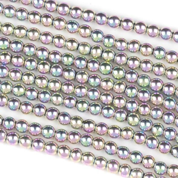 Hematite 3mm Electroplated Pink Rainbow Round Beads - approx. 8 inch strand