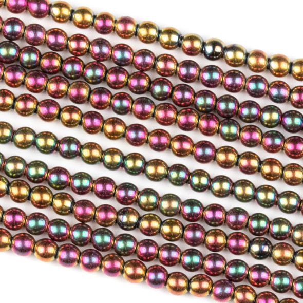 Hematite 3mm Electroplated Fuchsia Rainbow Round Beads - approx. 8 inch strand