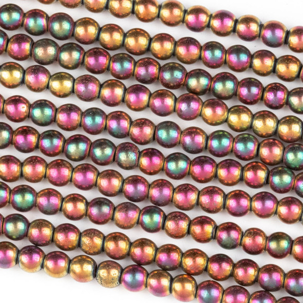 Hematite 4mm Electroplated Fuchsia Rainbow Round Beads - approx. 8 inch strand