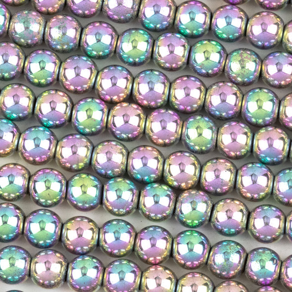 Hematite 6mm Electroplated Pink Rainbow Round Beads - approx. 8 inch strand