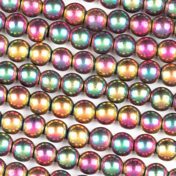 Hematite 6mm Electroplated Fuchsia Rainbow Round Beads - approx. 8 inch strand