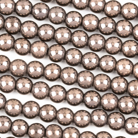 Hematite 6mm Electroplated Bronze Round Beads - approx. 8 inch strand
